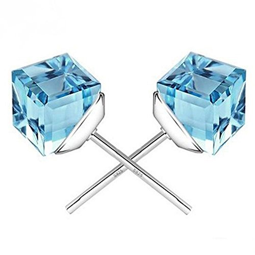 Multi Colored Tourmaline Earrings (Winter's Secret the Water Cube Sky Blue Crystal Square Shape Silver Plated Fashion Stud Earring)