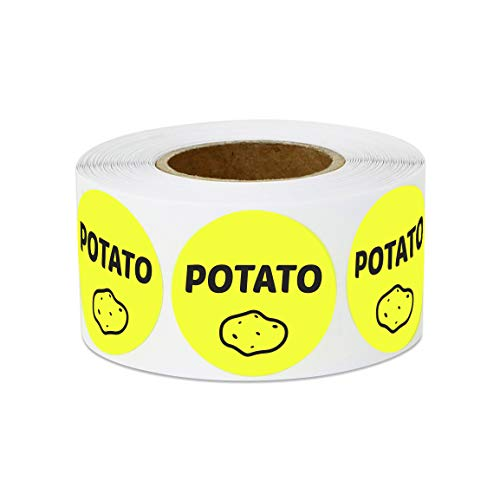 300 Labels - Potato Stickers for Delis, Restaurants, Supermarkets or Food Labeling (1 inch, Yellow - 1 Roll) (Best Potato Gun Design)