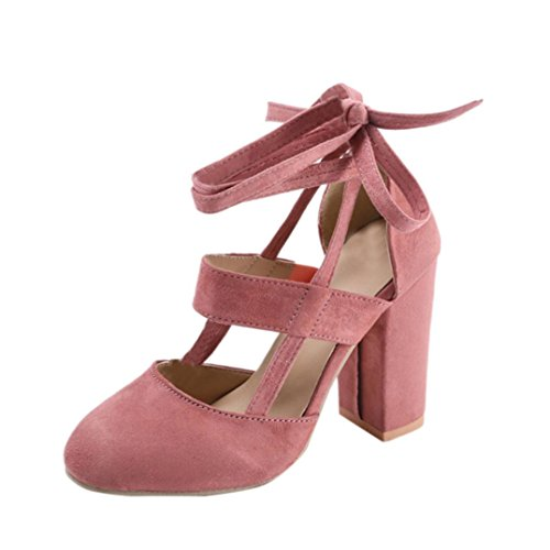 Womens Shoes, Large High-Heeled Lace Code Shoes - Party Suede Strappy Thick High Heels Sandals Classic Plus Shoes Pink
