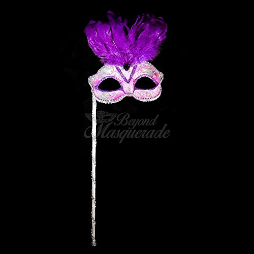 4everStore Masquerade Mask with Handheld Stick (Purple/Silver)