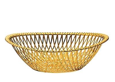 Impressive CreationsReusable Decorative Serving Basket – Plastic Fruit Basket – Bread Basket with Elegant Rose Gold Finish – Functional and Modern Weaved Design