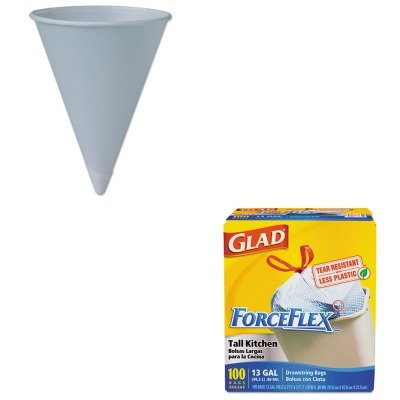 KITCOX70427SLO6RBU - Value Kit - Solo Bare Treated Paper Cone Water Cups (SLO6RBU) and Glad ForceFlex Tall-Kitchen Drawstring Bags (COX70427)