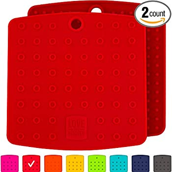 Premium Silicone Trivet & Pot Holders. Our Silicone Hot Pads also Works as Jar Opener Gripper Pad, Large Coasters & Spoon Rest. Trivets are Flexible & Heat Resistant to 442 F (7x7 inch, Red, 1 Pair)