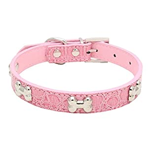 Haoricu Pet Collar, Small Dog Collars Bling Crystal With Bone Necklace Puppy Cat (M, Pink 1)