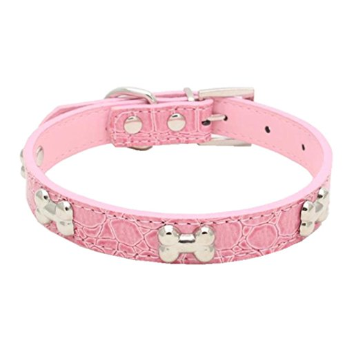(haoricu Pet Collar, Small Dog Collars Bling Crystal with Bone Necklace Puppy Cat (XS, Pink 1))