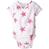 aden + anais Baby-Girls Newborn muslin Short-Sleeve Kimono Bodysuit, Pink Star, 0-3 Months