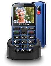 Ukuu 3G seniorenmobiele telefoon zonder abonnement, 2,3 inch met grote toetsen, mobiele telefoon, eenvoudig en toetsen, noodoproepfunctie, 1000 mAh batterij, lange standby-tijd, blauw
