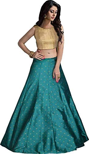 b4ae027fa3 APGREENS Women's Digital Print Silk Lehenga and Crop Top (Green, Free  Size): Amazon.in: Clothing & Accessories