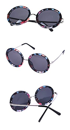 Nuni Women's 9079 Horn Rimmed Circle Lens Large Round Sunglasses (floral, - Sunglasses Floral Round