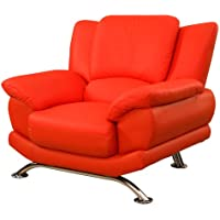 Global Furniture Rogers Collection Bonded Leather Matching Chair, Red with Chrome Legs