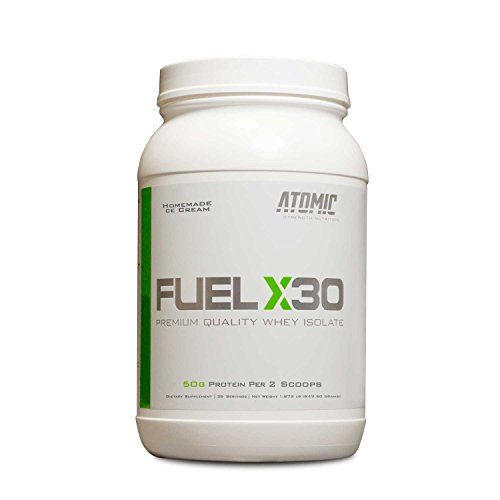 Fuel X30 Whey Isolate Protein by Atomic Strength Nutrition | Premium Quality Sugar Free Fat Free Gluten Free and Lactose Free - Homemade Ice Cream - 2 Pound