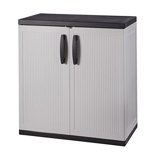 HDX 35 in. W 2-Shelf Plastic Multi-Purpose Base Cabinet in Gray
