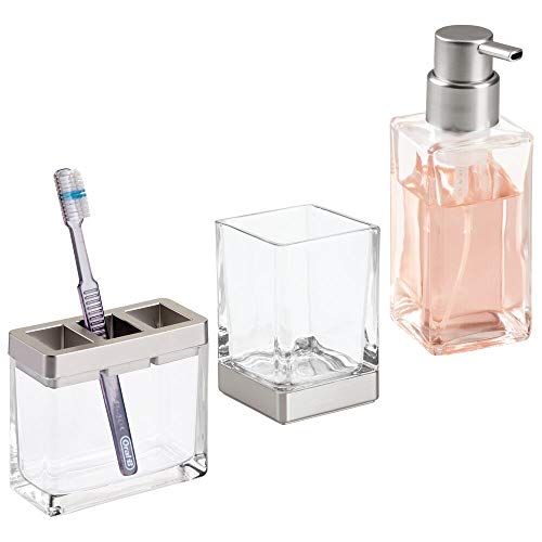 mDesign Square Glass Bathroom Vanity Countertop Accessory Set - Includes Refillable Soap Dispenser, Divided Toothbrush Stand, Tumbler Rinsing Cup - 3 Pieces - Clear/Brushed Nickel ()