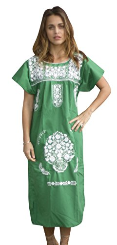 Liliana Cruz Embroidered Mexican Peasant Dress with White Embroidery (Green size Small)]()