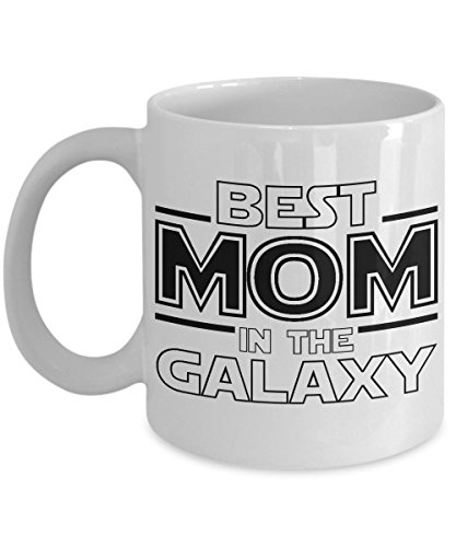 Best Mom in the Galaxy White Ceramic Tea or Coffee Mug - Unique Star Wars Themed Fan Gift ()
