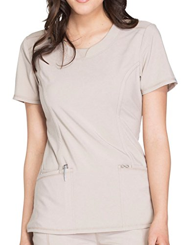Cherokee Infinity Women's Split Round Neck Solid Scrub Top X-Small ()
