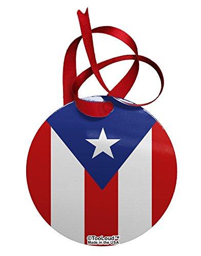 TooLoud Puerto Rico Flag AOP Circular Metal Ornament All Over Print