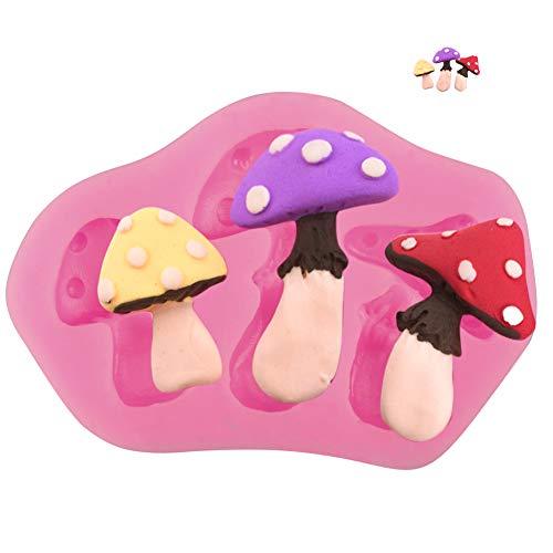 Yunko 3 Hole Mushroom 3D DIY Silicone Cake Decorating Fondant Sugar Craft Molds Candy Chocolate Mold,Pink ()