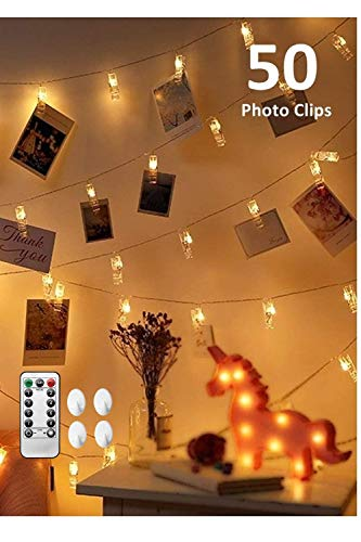 CADNLY String Lights With Clips - 50 LED Photo Clip Polaroid Lights For Bedroom - Hanging Picture Fairy Lights - Dorm Room Photograph Display String Lights For Pictures - Remote Control - Warm White (Clips Photo Display)
