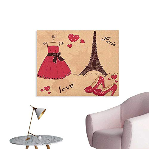 Anzhutwelve Heels and Dresses Wallpaper Paris Boutique French Retro Dress Shoes Eiffel Tower The Office Poster Dark Brown Pink Pale Salmon W32 xL24