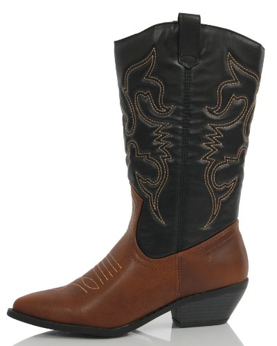 Soda Frauen Red Reno Western Cowboy Spitzschuh Kniehohe Pull On Tabs Boots Tanblacka