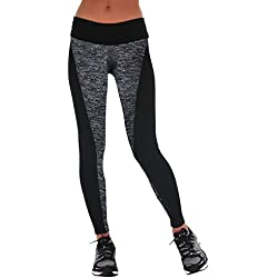 Manstore Women's Tights Active Yoga Running Pants Workout Leggings Grey M