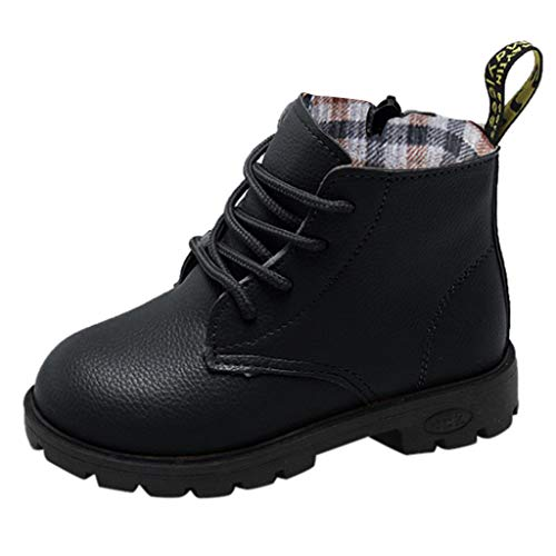 Little Kids Spring Autumn Boots,Jchen(TM) Baby Kids Little Girls Boys Solid Color Sneaker Boots Kids Casual Lace Up Shoes for 4-12 Years Old (13 M US Little Kid, Black)]()