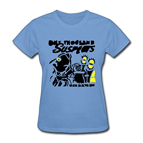 Fengzedid Skull Art Design T-Shirt Women's Short Sleeve Fashion T ShirtSize XL Color Sky