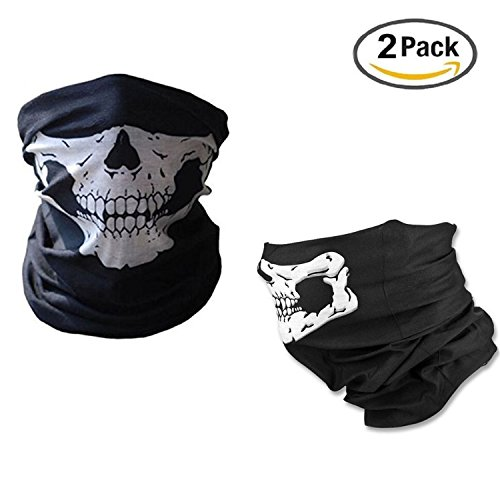 [GOSTAR Seamless Skull Mask Tubular Half Face Skeleton Scarf Bandana Face Neck Warmer Halloween Costumes Gift Multi-Functional Headwear for Outdoor Riding Cycling Motorcycle Hiking Ski -2] (Scarf Halloween Costumes)