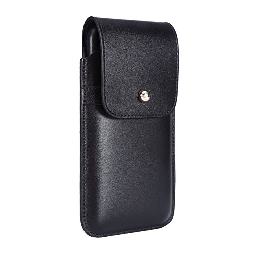 Blacksmith-Labs Barrett Mezzano 2017 Premium Genuine Leather Swivel Belt Clip Holster for Apple iPhone 7 Plus (5.5 inch screen) for use with Apple Leather Case - Black Cowhide/Gold Belt Clip by Blacksmith-Labs