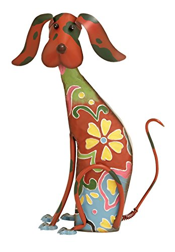 Deco 79 Eclectic Style Indoor/Outdoor Red Metal Dog Sculpture with Hand-Painted Flowers, Metal Yard Art, Outdoor Decor, Outdoor Metal Dog Statue | 12 x 17