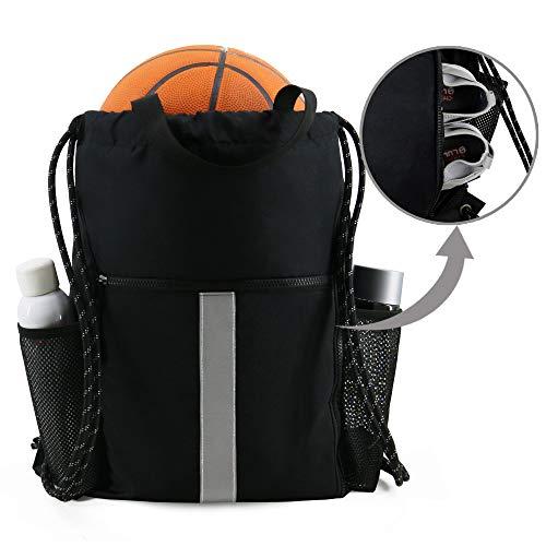 Gym-Drawstring-Backpack-Bag with Shoe Compartment and Water Bottle Holder, Large Sports Sackpack Athletic Cinch Bag Gymsack (Black)