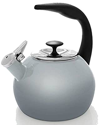 Chantal 2qt. Enamel-on-Steel Heath Grey Teakettle
