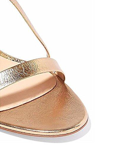 tiras de sandalias las tacón 45 De alto de cuero Negro mujeres de GOLD 38 Oro Awqq8Eg0