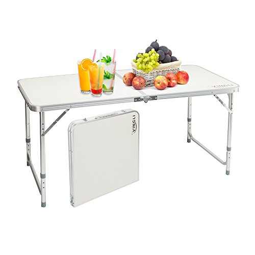 VINGLI Aluminum Folding Utility Table 47.2''L x 23.6', Portable Height Adjustable Multipurpose Maintaining & Camping Dining Picnic Table, for Indoor or Outdoor Party & ()