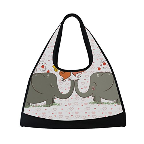 AHOMY Sports Gym Bag Elephant Love Heart Duffel Bag Travel Shoulder Bag by AHOMY