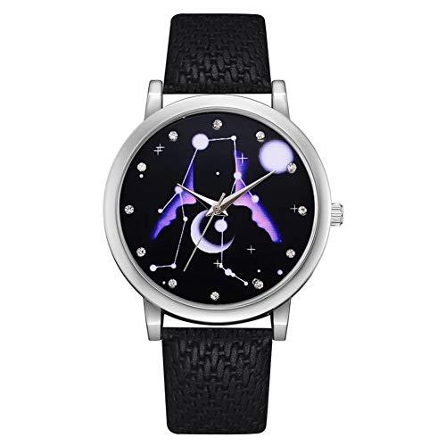 Alloet Casual Women Rhinestone Star Sky Quartz Watches PU Strap Wristwatch - Burgundy Dial Chronograph