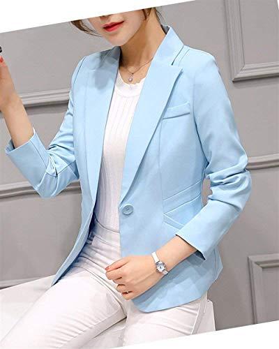 Himmelblau Business Vita Giacca Di Da Giacche Fit Lunga Colore Donna Puro Ufficio Confortevole Tailleur Mode Moda Con Button Blazer Slim Autunno Alta Manica Primaverile Bavero Cappotto Marca Eleganti aqpxtX8