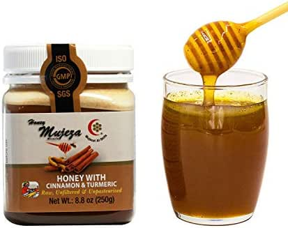 Mujeza Raw Honey with Ceylon Cinnamon & Turmeric - {Save Almost $6 on Bigger size} Pure Natural Liquid Gluten Free Honey - Unheated, Unfiltered, Kosher (250g / 8.8oz) عسل المعجزة - عسل نحل طبيعي