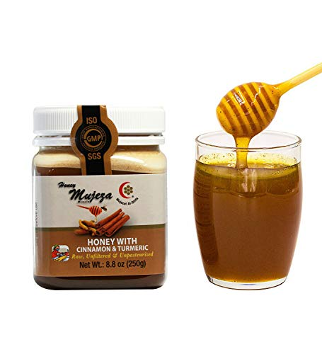 Mujeza Raw Honey with Ceylon Cinnamon & Turmeric - {Save Almost $6 on Bigger size} Pure Natural Liquid Gluten Free Honey - Unheated, Unfiltered, Kosher (250g / 8.8oz) عسل المعجزة - عسل نحل طبيعي (Health Benefits Of Greek Yogurt With Honey)