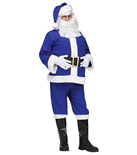 Blue Flannel Chanukah Hanukkah Santa Claus Christmas Suit - Adult Size (Blue Santa Claus)