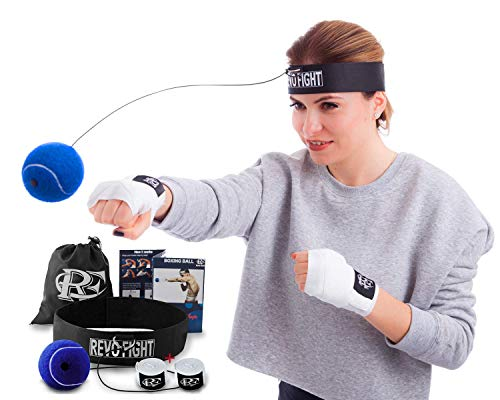 Revo Fight Boxing Reflex Ball | Premium Boxing Ball Headband with Punching Ball on String, Best Boxing Equipment for Training, Hand Eye Coordination and Fitness, 1 Pair of Boxing Wraps Included