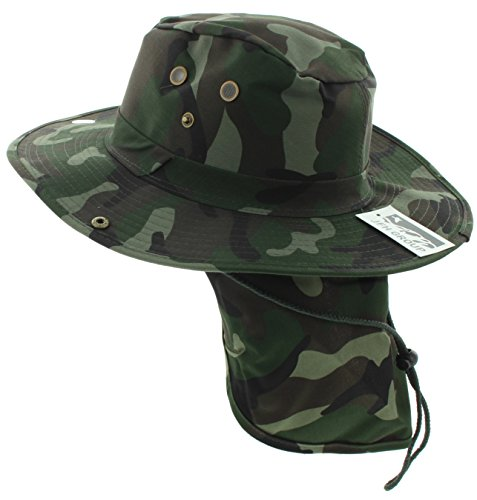 JFH GROUP Wide Brim Unisex Safari/Outback Summer Hat w/Neck Flap (Extra Large, Green Camo Solid)