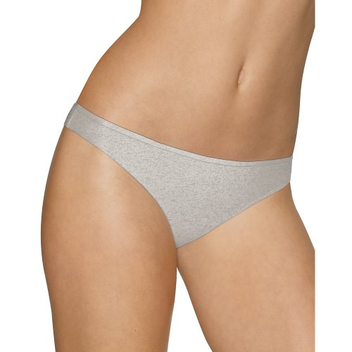 Barely There 21B5 Cotton Stretch Tailored Thong 7 Nude/Black Trim