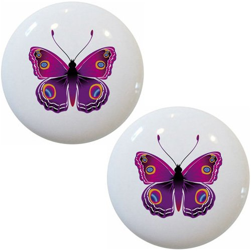 Set of 2 Pink Butterfly Ceramic Cabinet Drawer Pulls Knobs