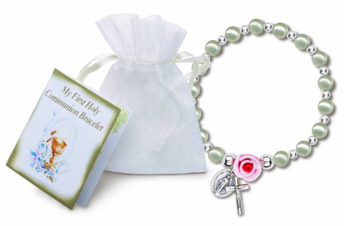 (White Pearl / Rose Stretch First Communion Bracelet with a Fimo Clay Rose and Silver Bead Accents, Includes Silver Oxidized Crucifix and Miraculous Medal, White Organza Bag. And Mini Greeting Card. Mm 2580)