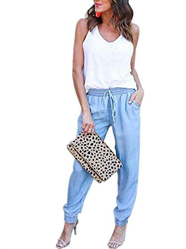 Libero Abbigliamento Tempo Casual Pantaloni Jeans Donna Moda Pantaloni Dei Con Pantaloni Pantaloni Due Pants Autunno Eleganti Blue Sky Pants High Chic Waist Ragazza Jogging Tasche Primaverile Monocromo XYXSvwq