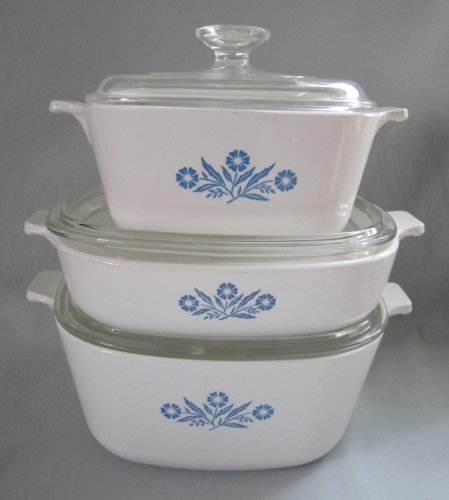 6 Piece Set - Vintage Corning Ware Cornflower Blue Casserole Skillet Baking Dishes w/ Lids Set - 9 Inch , 1 1/2 Qt, 2 1/2 Qt