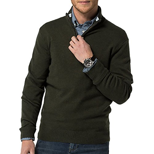 Just No Logo Men's Relaxed Fit Quarter Zip Sweater Pullover(Dark Green, L)