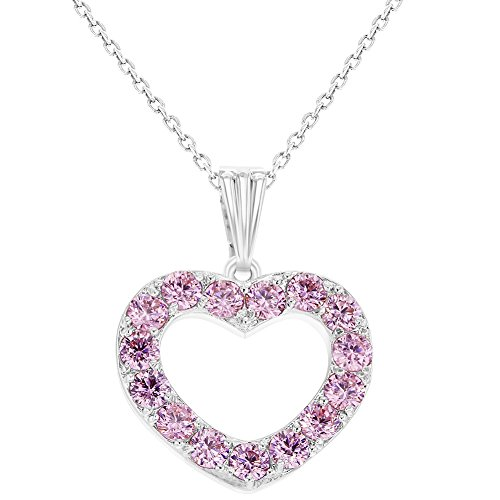Heart Necklace Girls (Rhodium Plated Love CZ Pink Heart Necklace Pendant Girls Kids 16